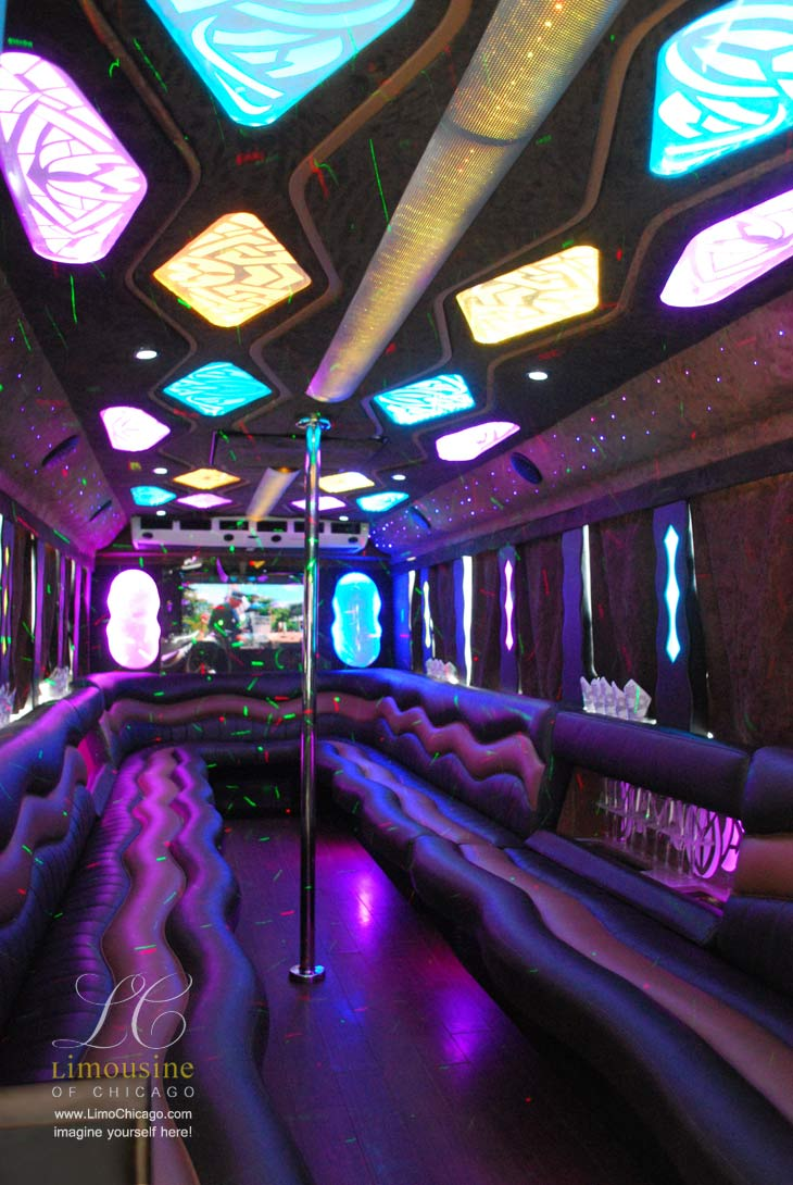 Chicago limo party bus for 30 people