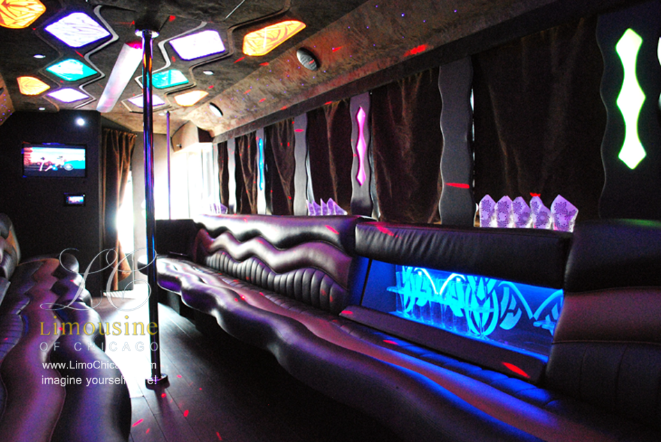 limo party bus inside pole led bar tv behind