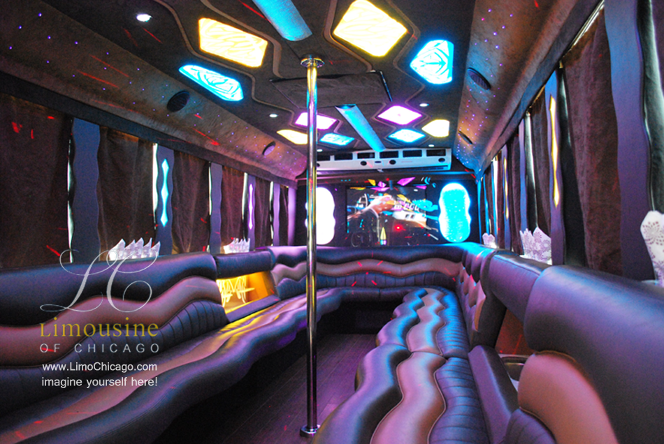 limo party bus inside pole led bar