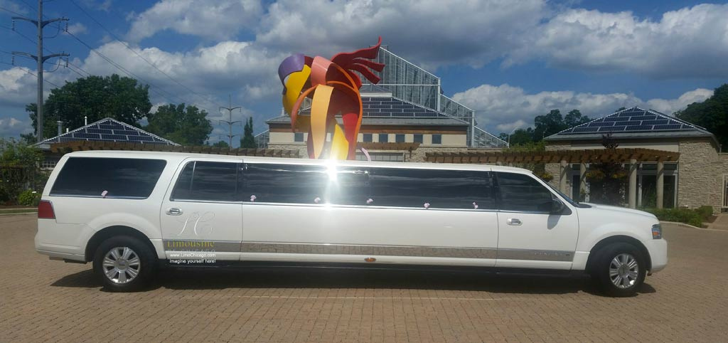 Stretch SUV Limousine at Nicholas Conservatory and Gardens in Rockford illinois