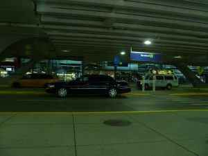 Town car limousine and taxi in O'Hare Airport